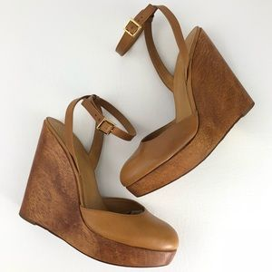 TORY BURCH   Drea Wood Wedge Sandal Size 9